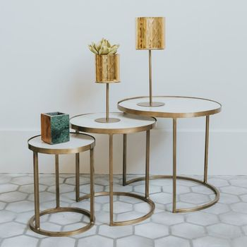 White Marble And Brass Nesting Coffee Tables