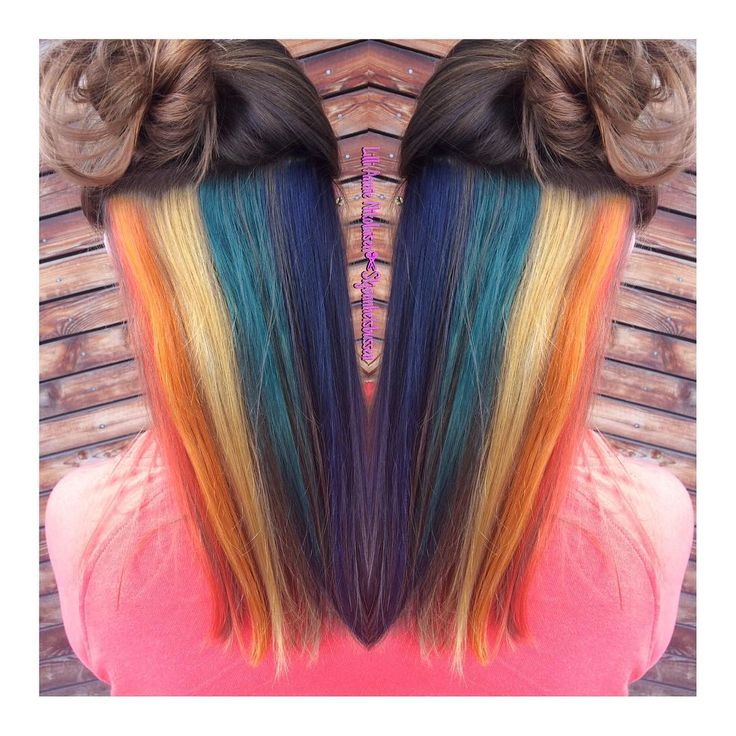 Tested out doing a hidden rainbow on a friend of mine. These are all Wella Koleston special mix colors.