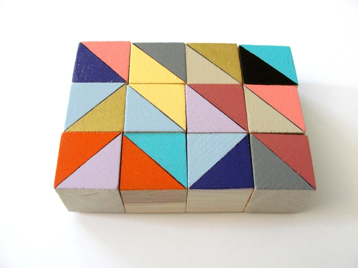 12 hand painted wooden art block magnets. From CuppaColor, via Etsy.