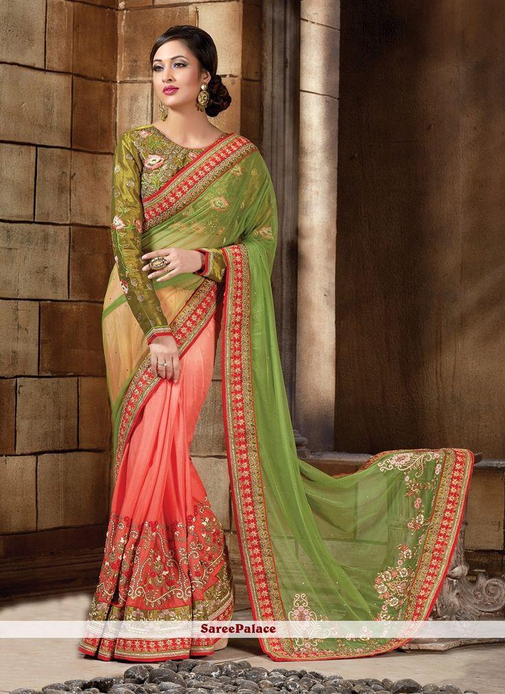 Girlish Green Patch Border Work Art Silk Classic Designer Saree