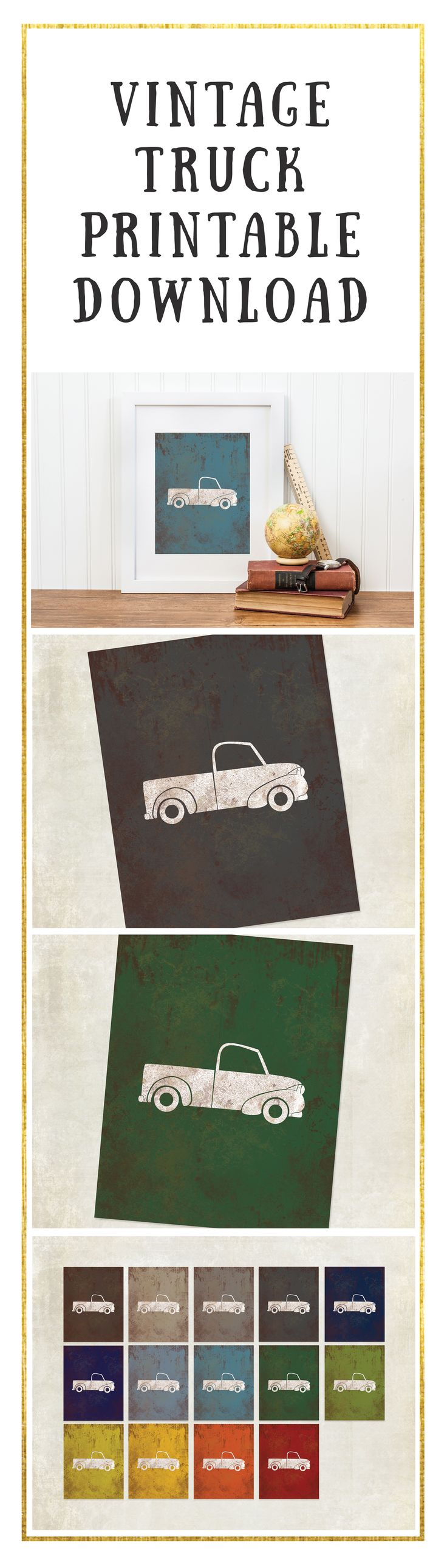 Baby boy room decor cars - Car Nursery Print Vintage Truck Digital Download Big Boy Room Art Truck Print