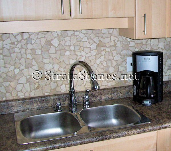 quartz stone mosaic tile kitchen backsplash picture