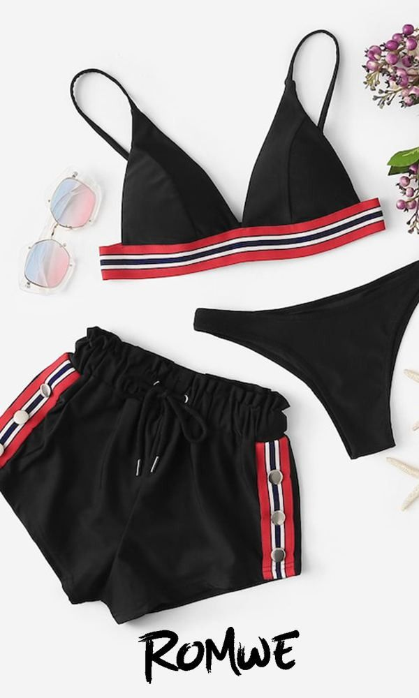 Striped Tape Top Shorts Cheeky Bottom Trajes De Bikini Ropa