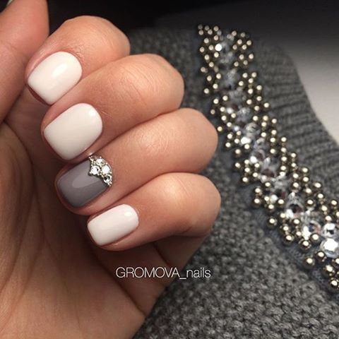 White-Gray-Rhinestone NailArt  by @nail_master_russia via ink361.com