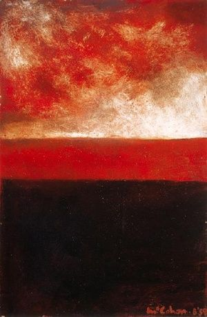 Colin McCahon / Red and Black Landscape / 1959 / Solpah and sand on board