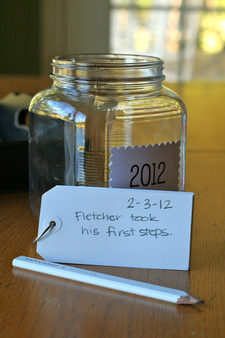 Family New Years Eve Ideas - A Year to Remember Jar: All year long write down favorite memories, milestones and special events. Then open the jar on New Year's Eve and read through the papers to remember what a wonderful year you've had. A New Year's Day project could be putting them in a scrapbook with photos.