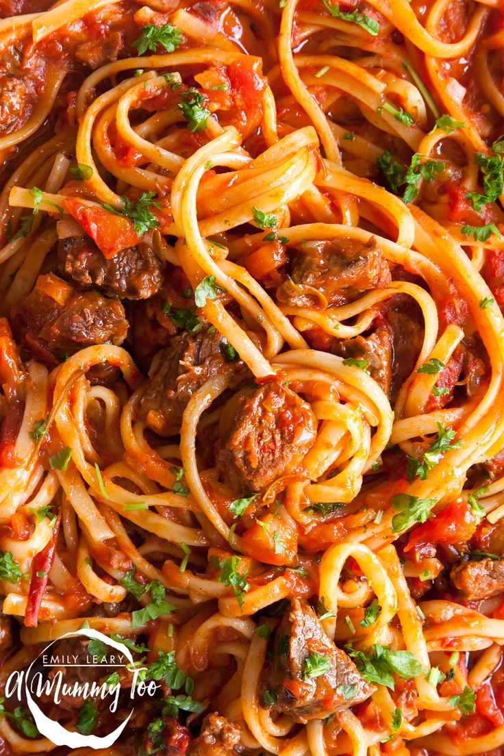 Beef ragu linguine. The tomatoes and herbs cook down over several hours, meaning the meat softens and the flavours intensify as the sauce reduces.