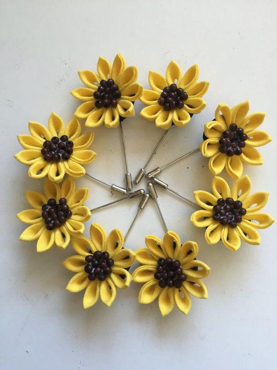 Amarillo algodón lino girasol flor en el ojal, hombres pin para solapa pin palillo, boda, aniversario,