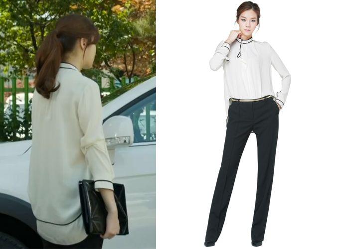 Oh Soo-Hyun Kang So-Ra Obzee Outline Point Elegant Blouse