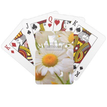 Bright Daisies Elegant Personalised Playing Cards - spring gifts style season unique special cyo