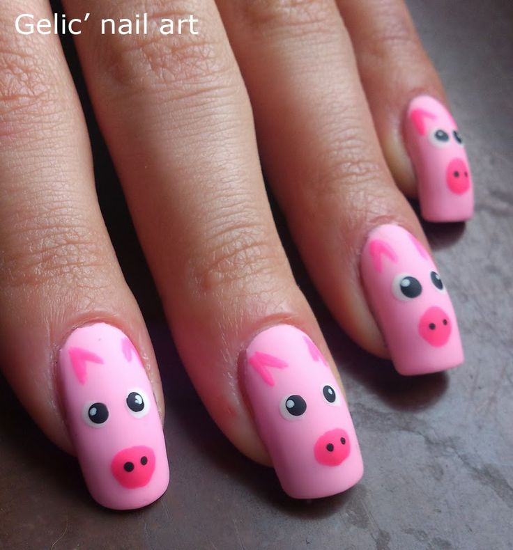 Gelic' nail art: Pink pig nail art - The 25+ Best Pig Nail Art Ideas On Pinterest Pig Nails, Animal