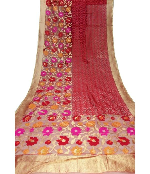 Red Handloom Banarasi Jute Net Saree---   Jute Net Sarees are apt to be worn at any formal gathering or parties.. For details click here--  http://luxurionworld.com/banarasi-Sarees-varanasi-pure-silk/LWBSSI477_Red_Handloom_Banarasi_Jute_Net_Weaving_Saree.html