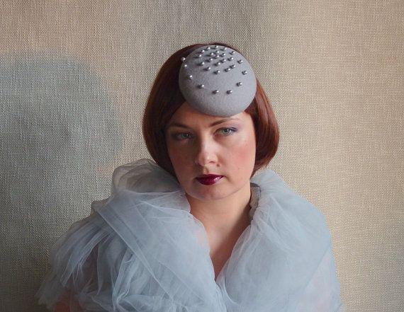Smoky Grey Felt Fascinator  Grey Mini Hat  by RubinaFascinators, $89.00