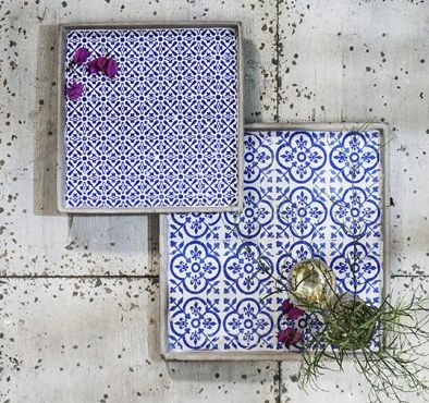 Ceramic designer trays. Comes in a set of two. Gorgeous pattern, very reminiscent of the colours of Morocco.