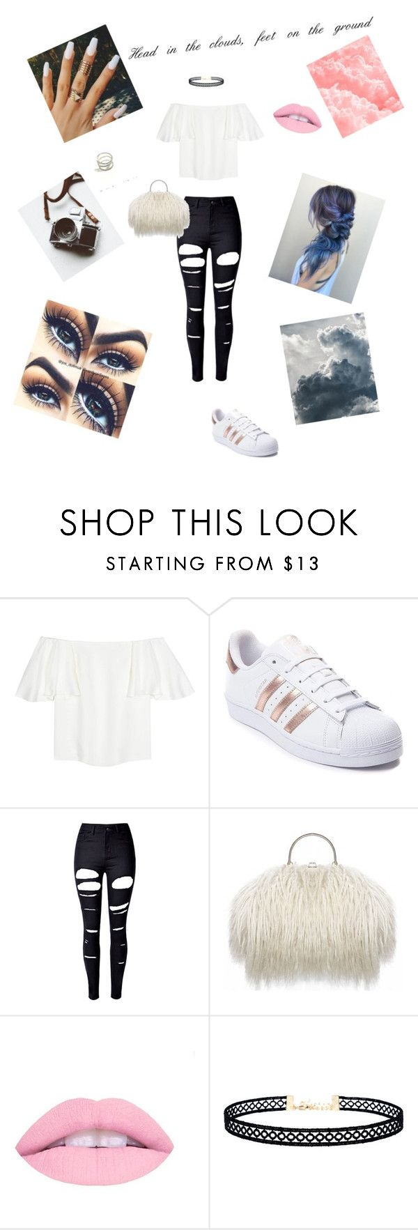 """""""Head in the Clouds☁️"""" by lologray ❤ liked on Polyvore featuring Valentino, adidas, WithChic and LULUS"""