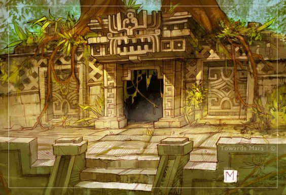 Aztec Concept Environment Art Aztec Temple Illustration