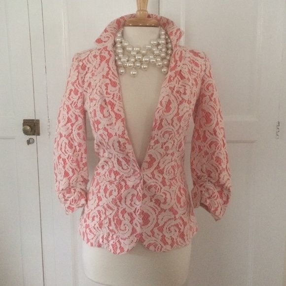 NWOT Tart Collection3/4 sleeve Lace Jacket Oh so pretty Tart Collection salmon-colored cotton twill jacket with ivory lace overlay.  Lace covered button.  Notched lapel.  Side slit pockets.  Unlined, pristine, never-worn condition.  So sad to part with it without ever wearing it, but it is too small for me.  Fits a size 2-4 best. Tart Jackets & Coats