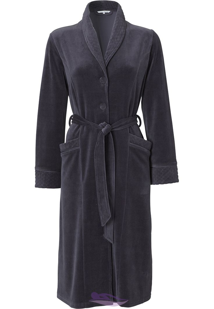A comfortable Pastunette grey rich velvet morning gown with fine decorative quilted detail
