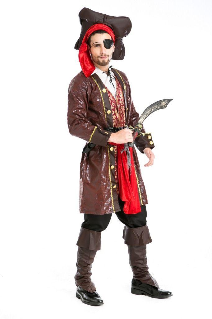 Хэллоуин Костюмы Для Взрослых Мужские Делюкс Карибский Пиратский Костюм Равномерное Необычные Косплей Одежда для Мужчин