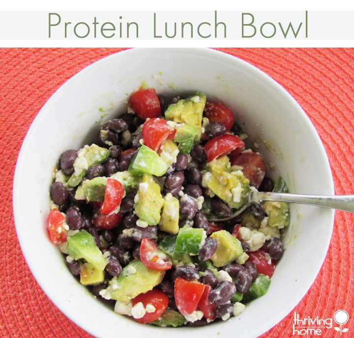 Protein Lunch Bowl (black beans, avocado, tomatoes, feta)
