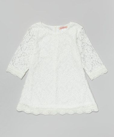 Paulinie Off-White Lace Shift Dress - Toddler & Girls | Lace ...