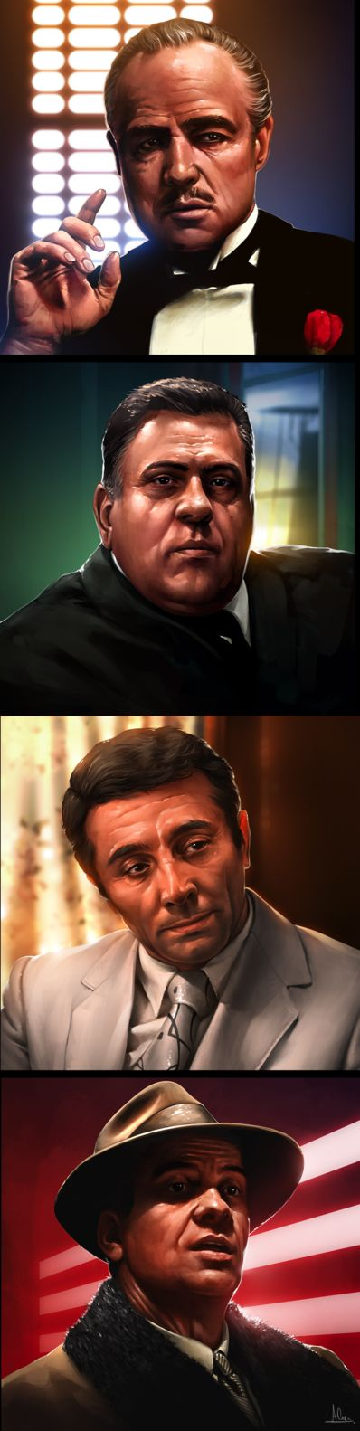 The Godfather - stunning portraits of some of the movie protagonists: Don Vito Corleone; Luca Brasi; Johnny Fontaine; and Virgil 'The Turk' Sollozzo #GangsterMovie #GangsterFlick