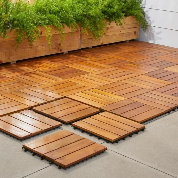 Vifah Roch 4 Slat 12 In X 12 In Wood Outdoor Balcony Deck Tile 10 Sq Ft Case A3458 488 5 11 The Home Depot In 2020 Deck Tile Hardwood Decking Wood Deck Tiles