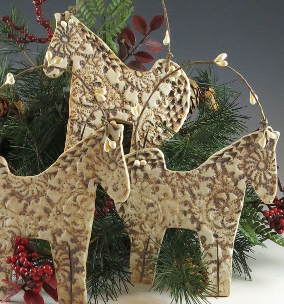 Horse Ornament Christmas Ornament Christmas by Botanic2Ceramic