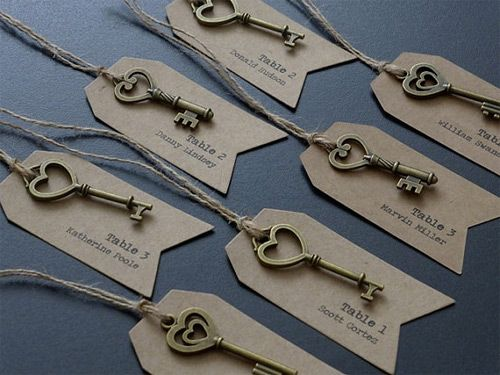 Vintage keys with tags for escort cards or place cards. http://www.toptableplanner.com/blog/key-wedding-seating-plans