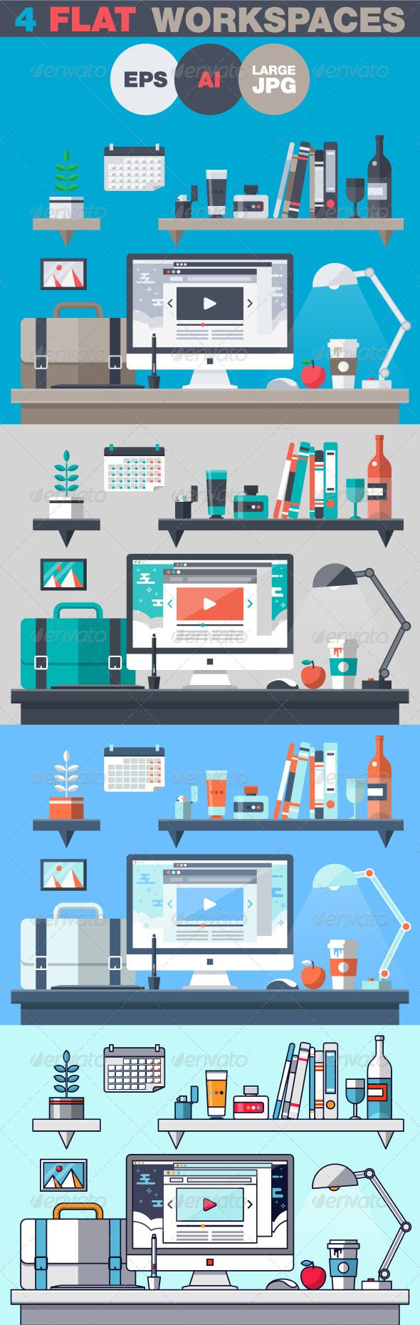 Office Workspace Flat Design Concept  #graphicriver