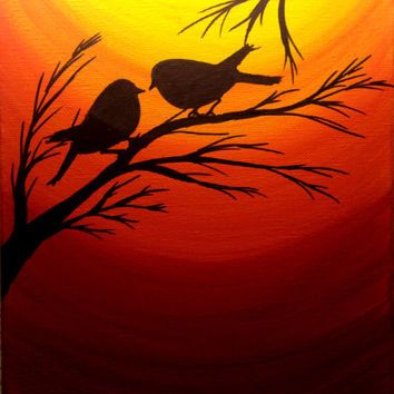 Sunset painting Love birds silhouette at sunset birds wall art Acrylic painting canvas art Wall decor Black friday Thanksgiving sale