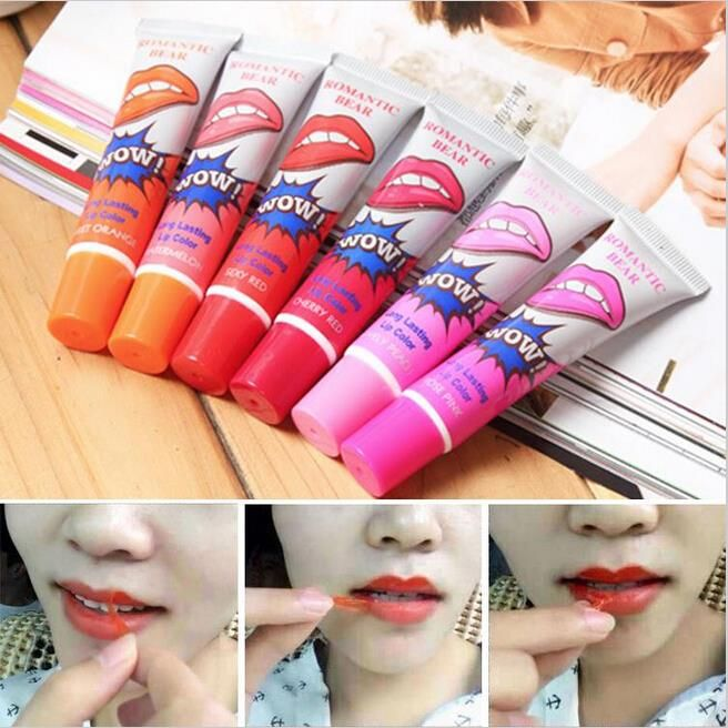 6Pcs/lot Pintalabios Romantic Bear Peel Off Lipstick Liquid Matte Baby Lips Makeup Long Lasting Waterproof