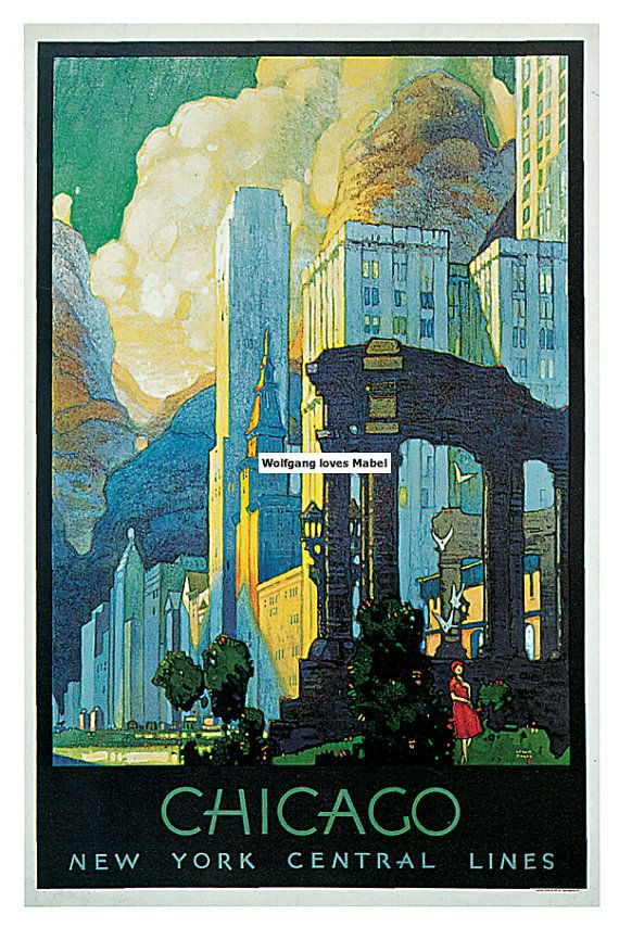 Retro Vintage 1929 New York Central Lines Chicago Leslie Ragan Reproduction See America Travel Tourism Poster Print Art Premium A4 A3 A2 A1 on Etsy, $14.46
