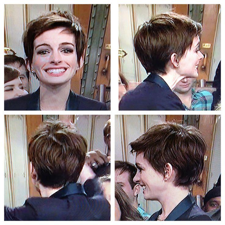 Anne Hathaway // Pixie Haircut // Adorable!
