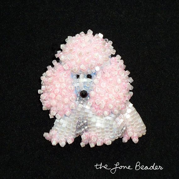 Baby Pink & White Delica Beaded MINIATURE POODLE by thelonebeader, $75.00