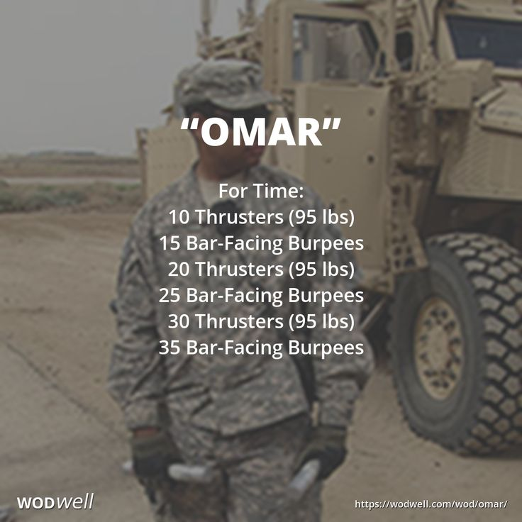 """OMAR"" CROSSFIT HERO WOD: For Time: 10 Thrusters (95/65 lbs); 15 Bar-Facing Burpees; 20 Thrusters (95/65 lbs); 25 Bar-Facing Burpees; 30 Thrusters (95/65 lbs); 35 Bar-Facing Burpees"