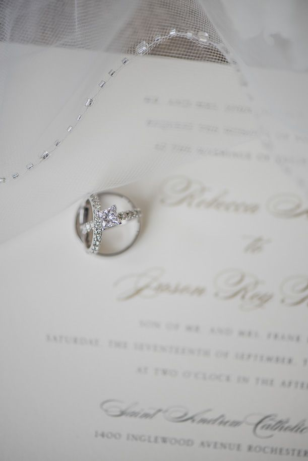Wedding ring set. Classic Royal Park Hotel Champagne Wedding in Rochester, Michigan by top rated Metro Detroit Documentary Wedding Photographer, Kari Dawson and her team.