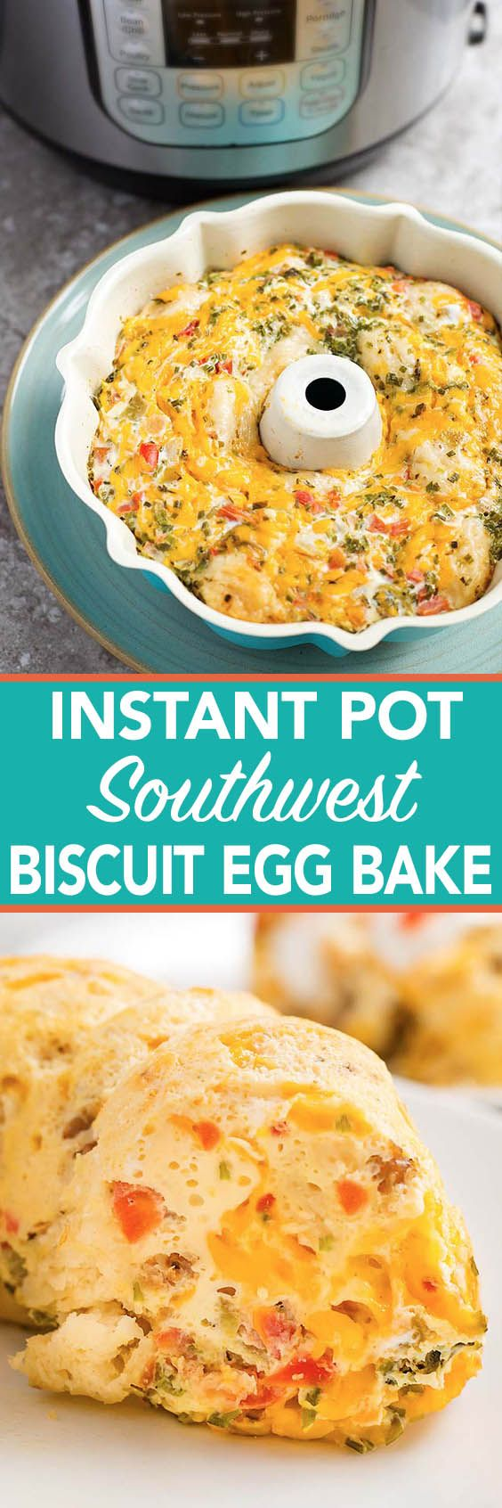 Instant pot southwest egg bake has salsa, cheese, and is a breakfast casserole you cook in your pressure cooker. simplyhappyfoodie.com #instantpotrecipes #instantpoteggbake #instantpoteggs