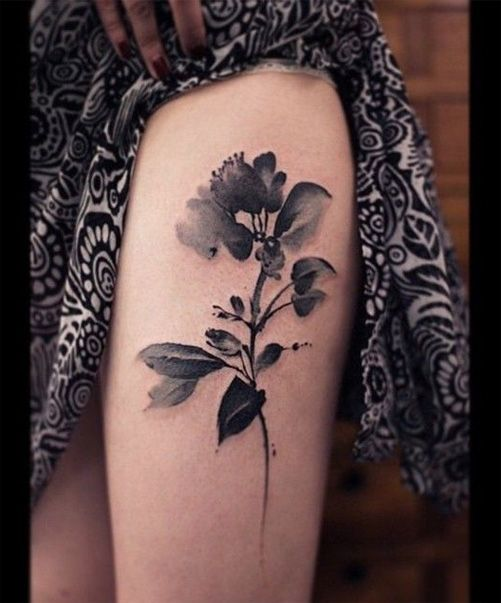 Black And White Watercolor Flower Tattoo Ideas for Girls