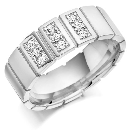 Palladium Men's 8mm Wedding Ring with Vertical Cuts All Around and Set with 0.27ct of Diamonds in 3 Panels
