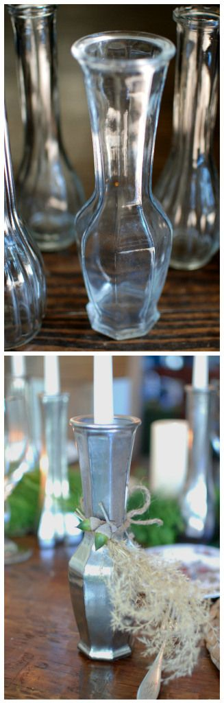 free glass vase to silver candlestick: One product makes all the difference for this plain vase. A DIY spray paint project with Krylon Looking Glass paint! huntandhost.net