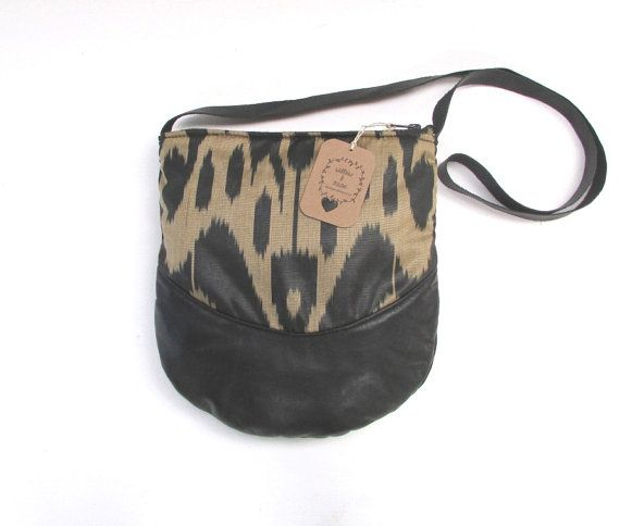Handwoven silk (ikat pattern) and leather shoulder bag with cowhide strap - Willow and Muse (Find me on etsy)