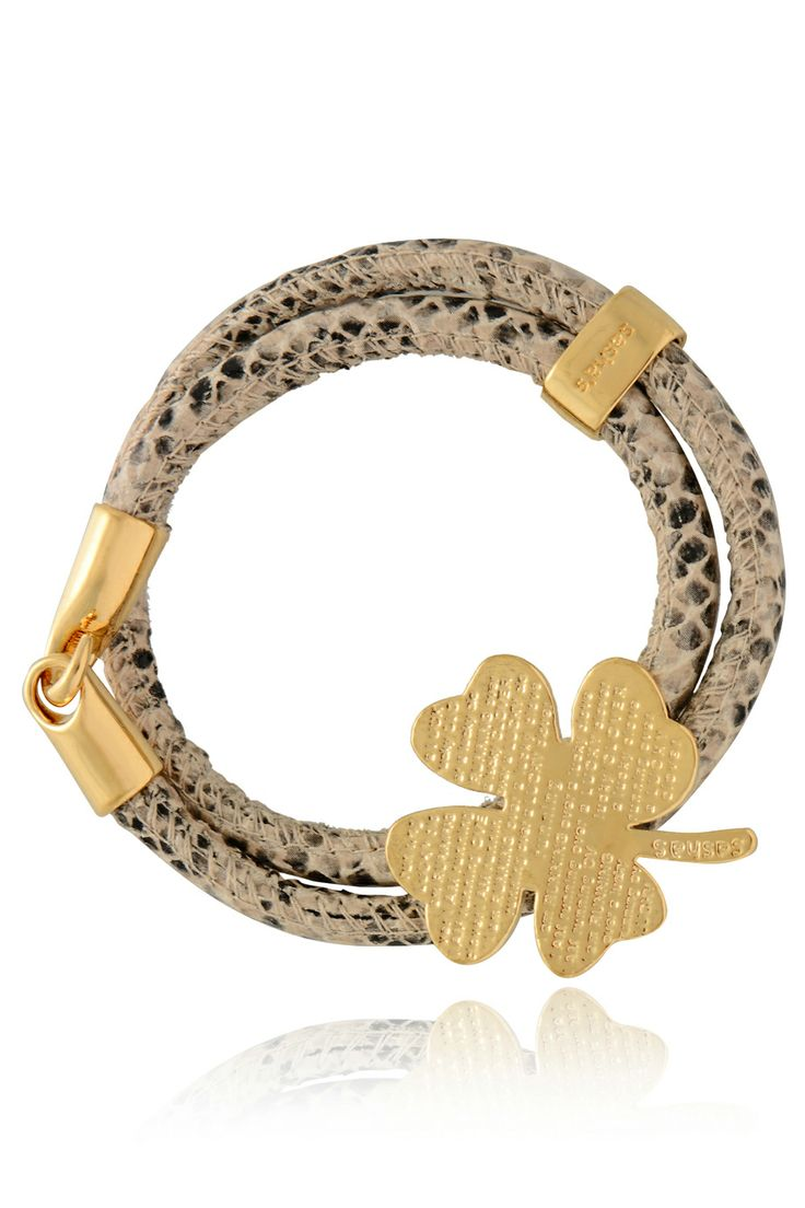SASHA'S 	 LUCKY CLOVER Snake Cream Leather Bracelet   Price: € 120.00
