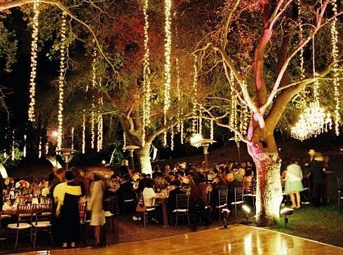 Outdoor Wedding Reception And Dance Floor Lighting Perfection Exactly What I Would Want If We Did The Outdoor Wedding