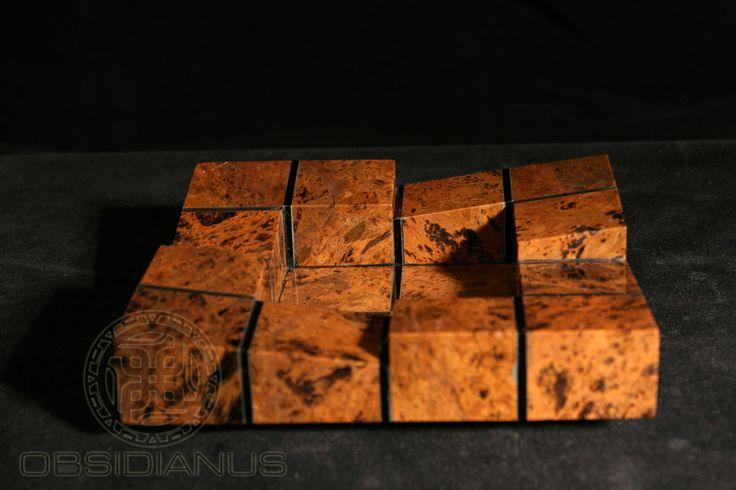 Cigar Ashtray Hand Made / Semiprecious Natural Obsidian Stone / Mahogany Color