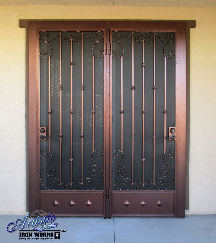242 best wrought iron security doors images on pinterest for Security screen doors for french doors