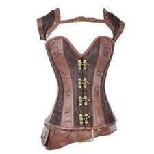 Brown Steampunk Overbust Corset with Jacket