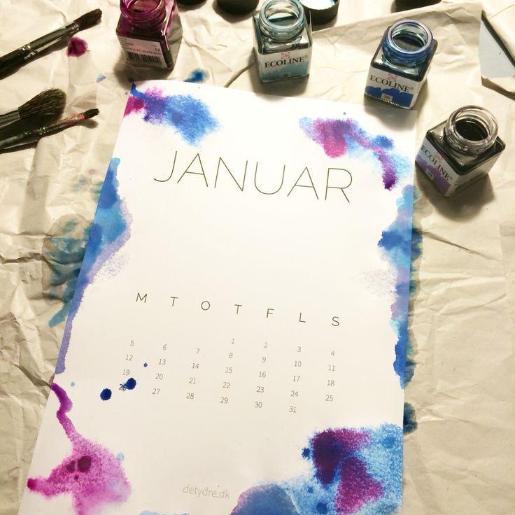 Akvarel på printselv kalender fra detydre.dk