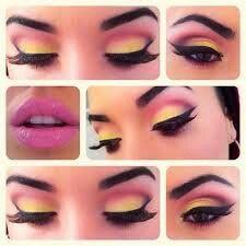 Maquillaje amarillo y rosa