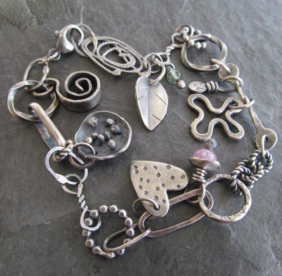Boho Charm BRACELET Silver Heart Charm Bracelet Eclectic Charm Bracelet Silver Artsy Jewelry bohemian Jewelry Stamped Silver – Bracelets